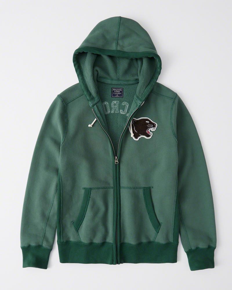 【新品】アバクロ【日本未発売】【Mensメンズ】ヘビーウエイトフルジップパーカー/Green【Heavyweight Heritage Logo Full-Zip Hoodie】【Abercrombie&Fitch】【本物保証】