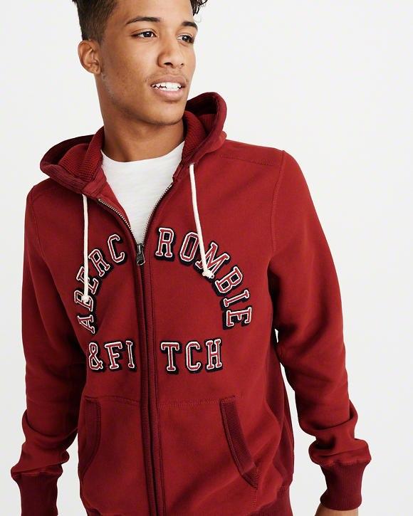 【新品】アバクロ【Mensメンズ】ヘビーウエイトフルジップパーカー/Red【Heavyweight Heritage Logo Full-Zip Hoodie】【Abercrombie&Fitch】【本物保証】
