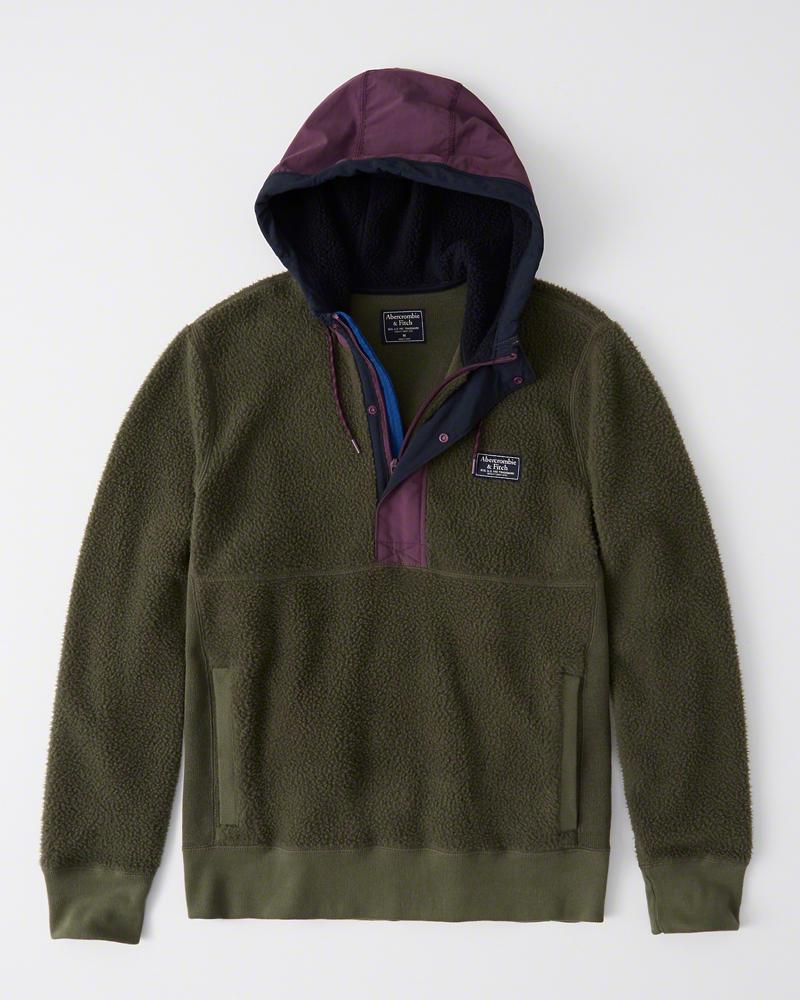 【新品】アバクロ【Mensメンズ】ハーフジップ フリースジャケット/Olive Green【Sherpa Half-Zip Hoodie】【Abercrombie&Fitch】【本物保証】