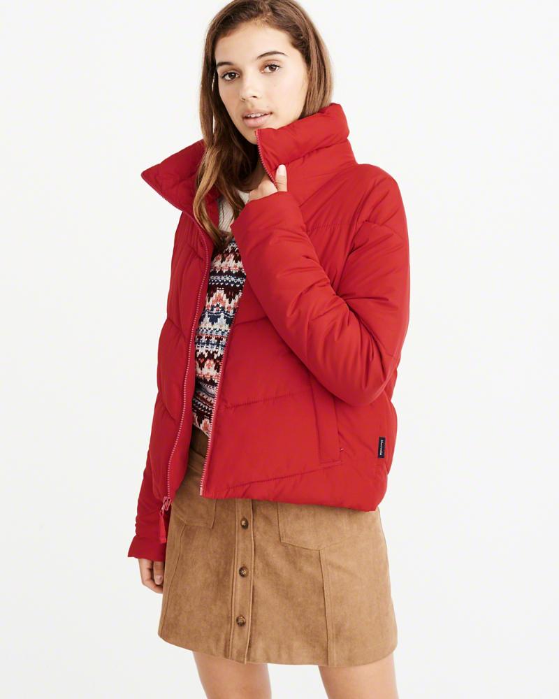【新品】【日本未発売】アバクロ【Womens】パファージャケット /Red【Ultra Mini Puffer】【本物保証】【レディース】