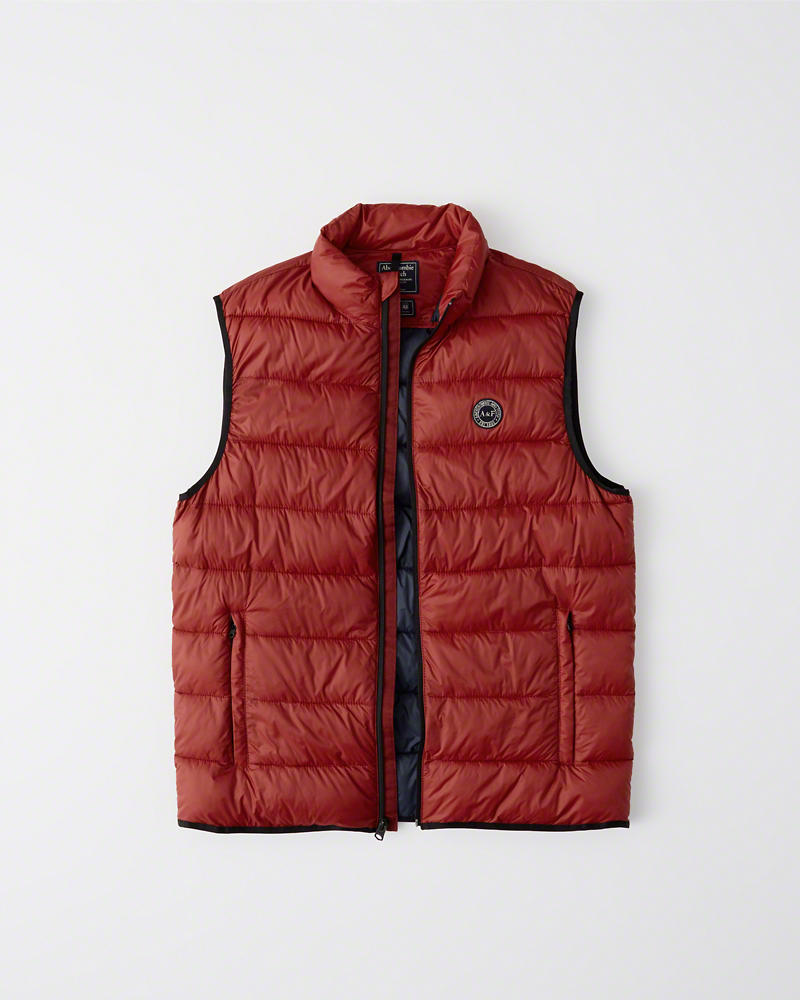 Vest】【Abercrombie&Fitch】【本物保証】 Puffer パファー ベスト/Red【Lightweight Packable パッカブル Down-Filled 【新品】アバクロ【Mensメンズ】ライトウエイト