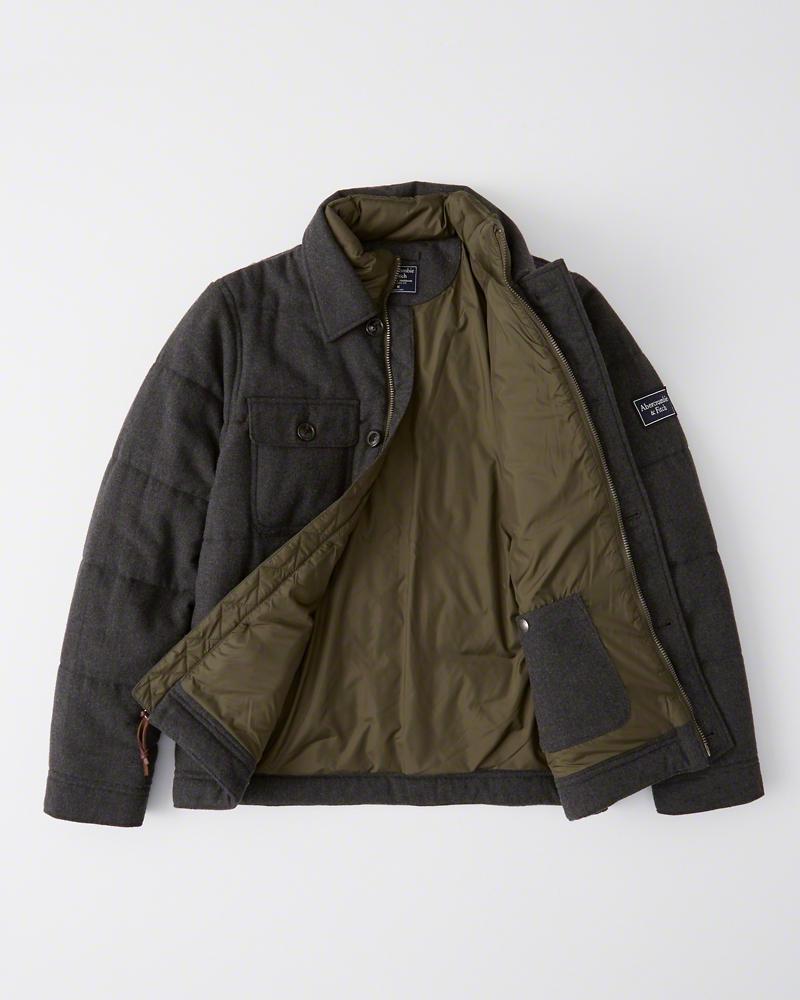 Abercrombie&Fitch (アバクロンビー&フィッチ) キルティングライナー付き ウールジャケット (Wool-Blend Jacket) メンズ (Dark Grey) 新品