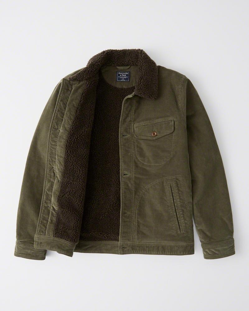 【新品】アバクロ【Mensメンズ】裏ボア コーデュロイジャケット/Olive Green【Sherpa Corduroy Jacket】【Abercrombie&Fitch】【本物保証】