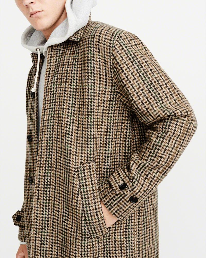 正規直営店より直接買い付け Abercrombie Fitch 高級品 アバクロンビー フィッチ 期間限定特別価格 千鳥柄 ウールコート The Tan メンズ AF Dad 新品 Herringbone Coat