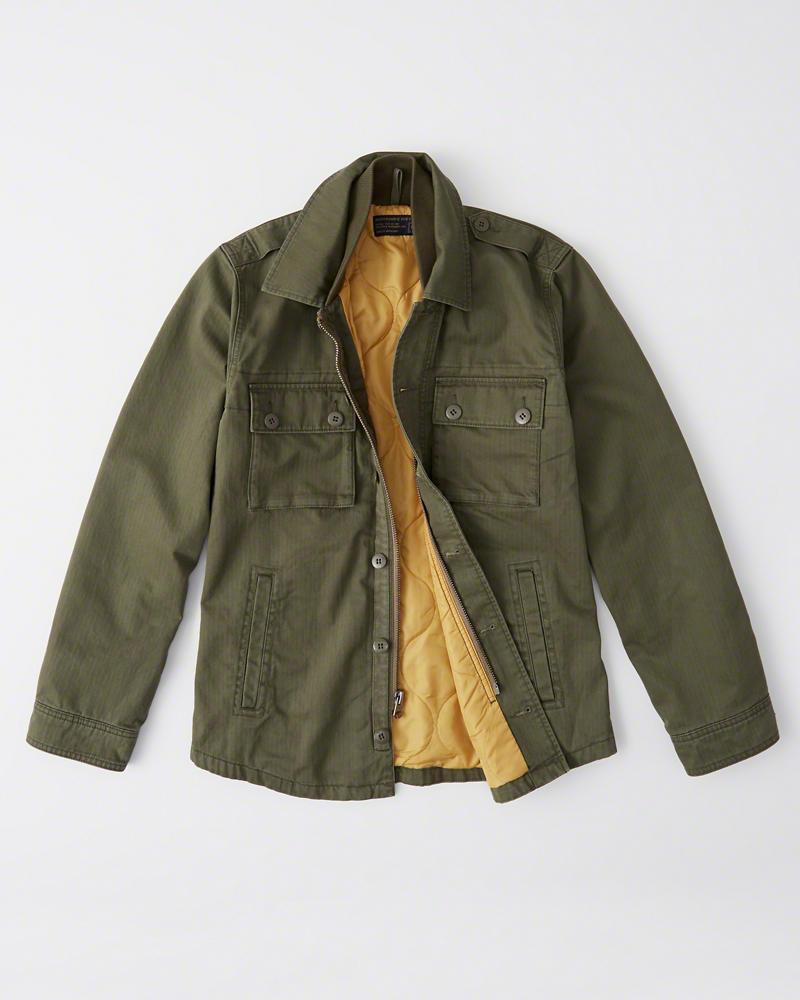 【新品】アバクロ【Mensメンズ】ミリタリーシャツジャケット(長袖)/Olive Green【Military Shirt Jacket】【Abercrombie&Fitch】【本物保証】