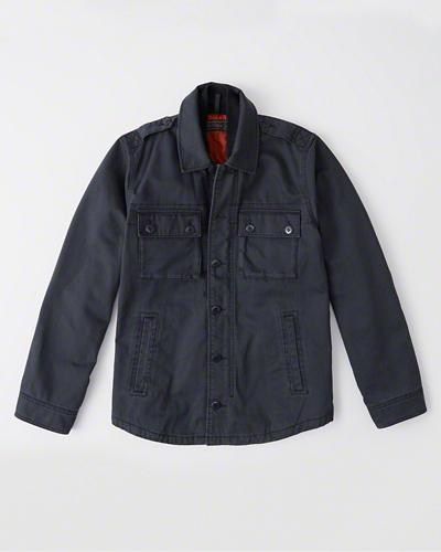【新品】アバクロ【Mensメンズ】ミリタリーシャツジャケット(長袖)/Navy Blue【Military Shirt Jacket】【Abercrombie&Fitch】【本物保証】