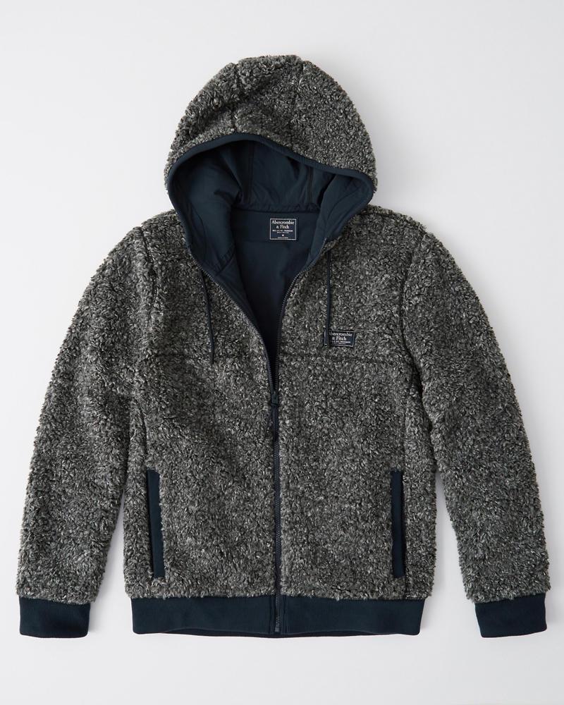 【新品】アバクロ【Mensメンズ】フード付き フルジップ フリースジャケット/Grey【Full-Zip Sherpa Jacket】【Abercrombie&Fitch】【本物保証】