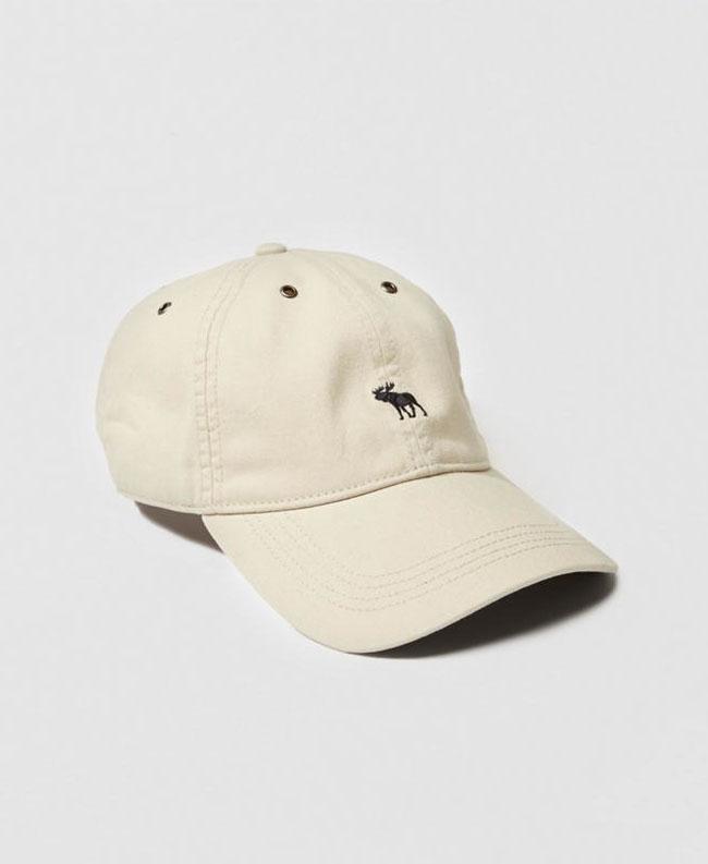 【新品】アバクロ【Mensメンズ】Moose刺繍 ブラッシュドツイルハット/Cream【Brushed Twill Hat】【Abercrombie&Fitch】【本物保証】