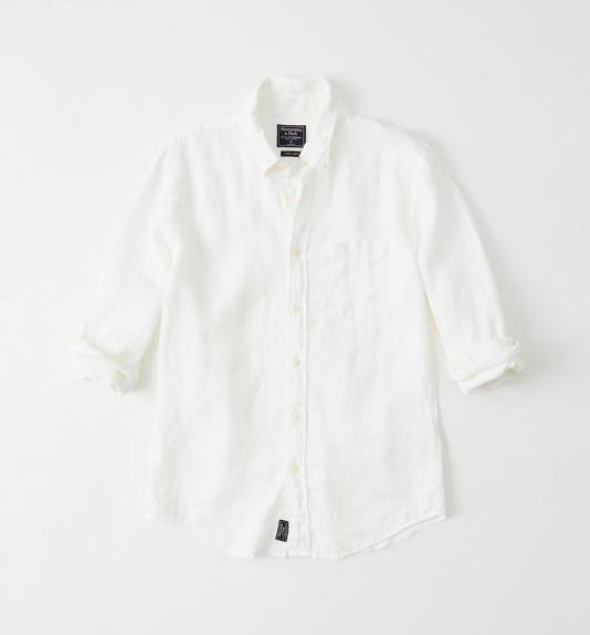 Abercrombie&Fitch (アバクロンビー&フィッチ) ボタンダウン リネンシャツ (長袖)(Linen Shirt) メンズ (White) 新品 (Signature Fit)