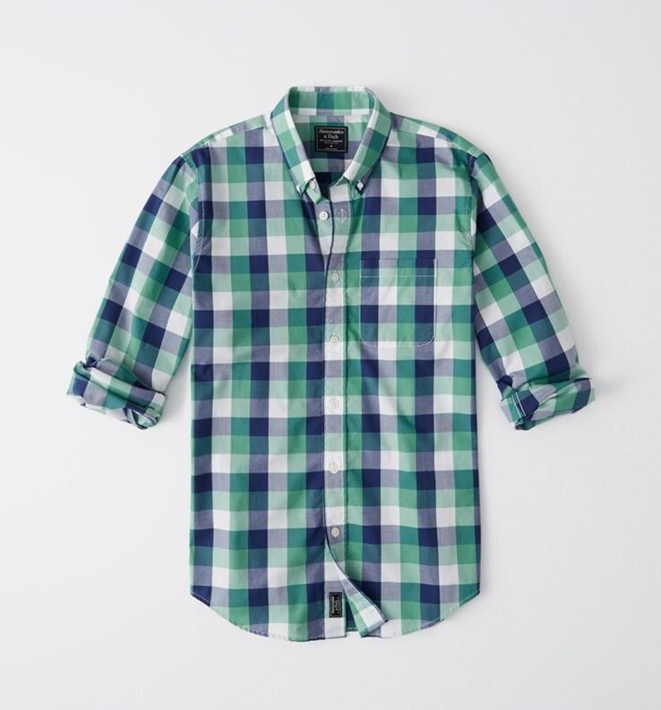 正規直営店より直接買い付け Abercrombie Fitch アバクロンビー 人気上昇中 フィッチ ストレッチ ボタンダウン チェックシャツ 長袖 Check Shirt Plaid Navy Poplin メンズ Blue And Green 上質 新品