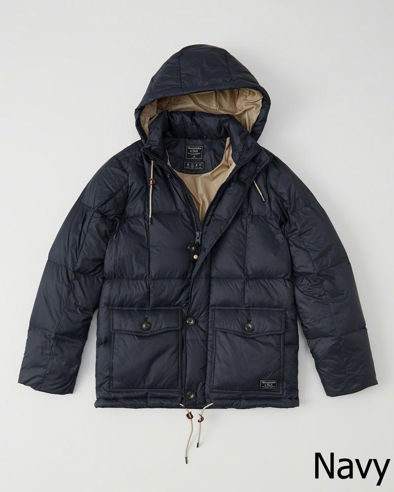 【新品】アバクロ【Mensメンズ】フード付きダウンジャケット/Navy【Down-Filled Puffer Coat】【Abercrombie&Fitch】【本物保証】