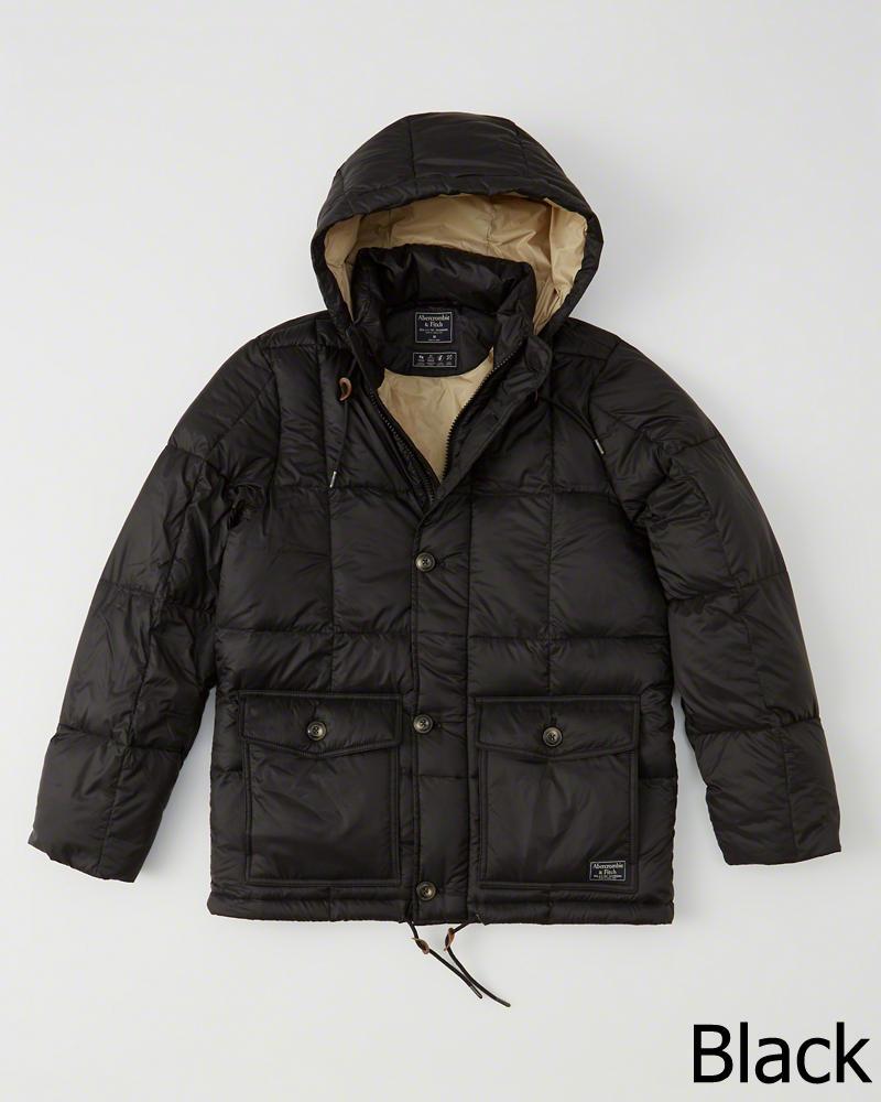 【新品】アバクロ【Mensメンズ】フード付きダウンジャケット/Black【Down-Filled Puffer Coat】【Abercrombie&Fitch】【本物保証】