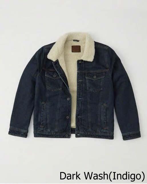 【新品】アバクロ【Mensメンズ】裏ボア デニムジャケット/Dark Wash【Sherpa-Lined Denim Jacket】【Abercrombie&Fitch】【本物保証】