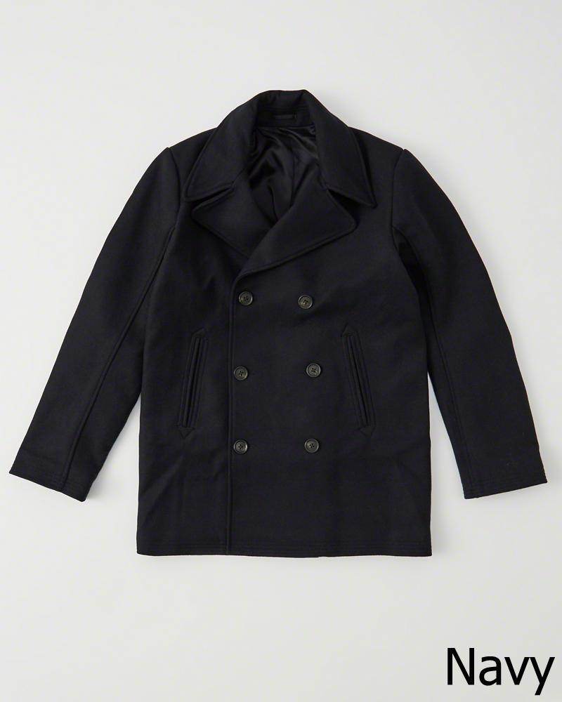 【新品】アバクロ【Mensメンズ】ウールピーコート/Navy【Italian Wool Peacoat】【Abercrombie&Fitch】【本物保証】