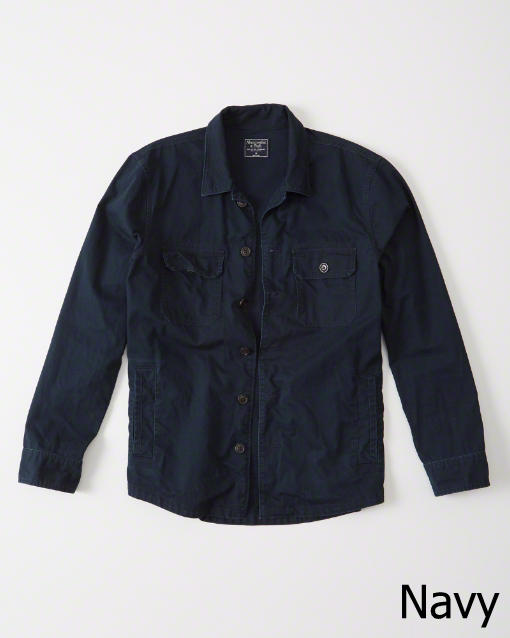 Abercrombie&Fitch (アバクロンビー&フィッチ) ミリタリーシャツ ジャケット(長袖)(Military Shirt Jacket) メンズ (Navy) 新品