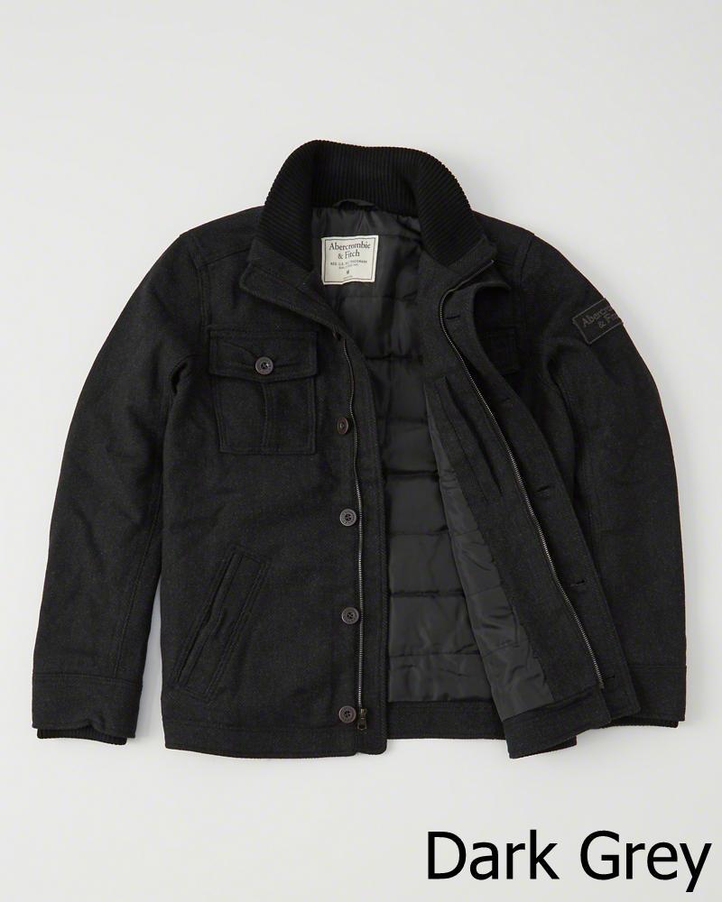 【新品】アバクロ【Mensメンズ】キルティングライナー付きウールジャケット/Dark Grey【Wool-Blend Shirt Jacket】【Abercrombie&Fitch】【本物保証】