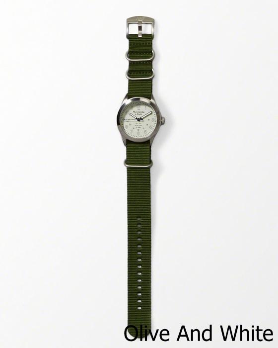 【新品】アバクロ【Mensメンズ】ヘリテージレザーウォッチ/Olive And White【Heritage Leather Watch】【Abercrombie&Fitch】【本物保証】