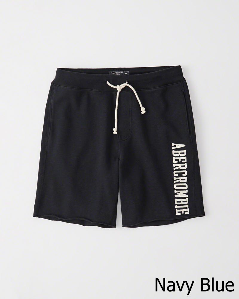 毎日続々入荷 正規直営店より直接買い付け Abercrombie Fitch セール特価 アバクロンビー フィッチ ロゴ スエット Shorts 新品 Fleece メンズ ショーツ Navy Logo