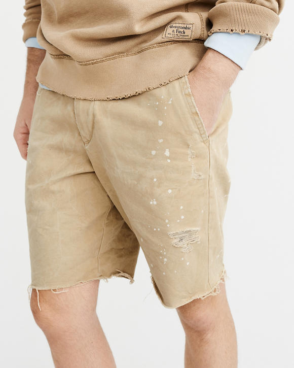 正規直営店より直接買い付け 定番から日本未入荷 Abercrombie Fitch アバクロンビー フィッチ デストロイド Khaki メンズ ショートパンツ Destroyed Shorts 新品 ご予約品