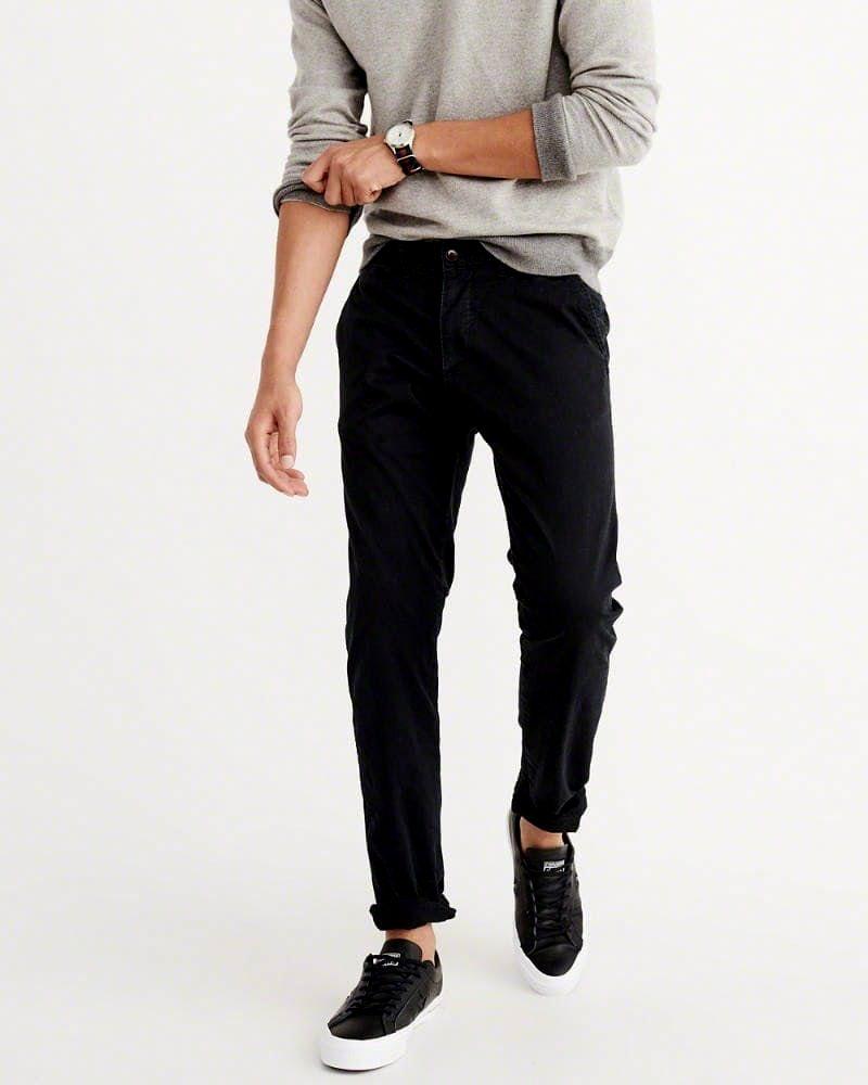 Abercrombie&Fitch (アバクロンビー&フィッチ) ストレッチ スリム チノパンツ(コットンパンツ)(Langdon Slim Chino Pants) メンズ (Black) 新品