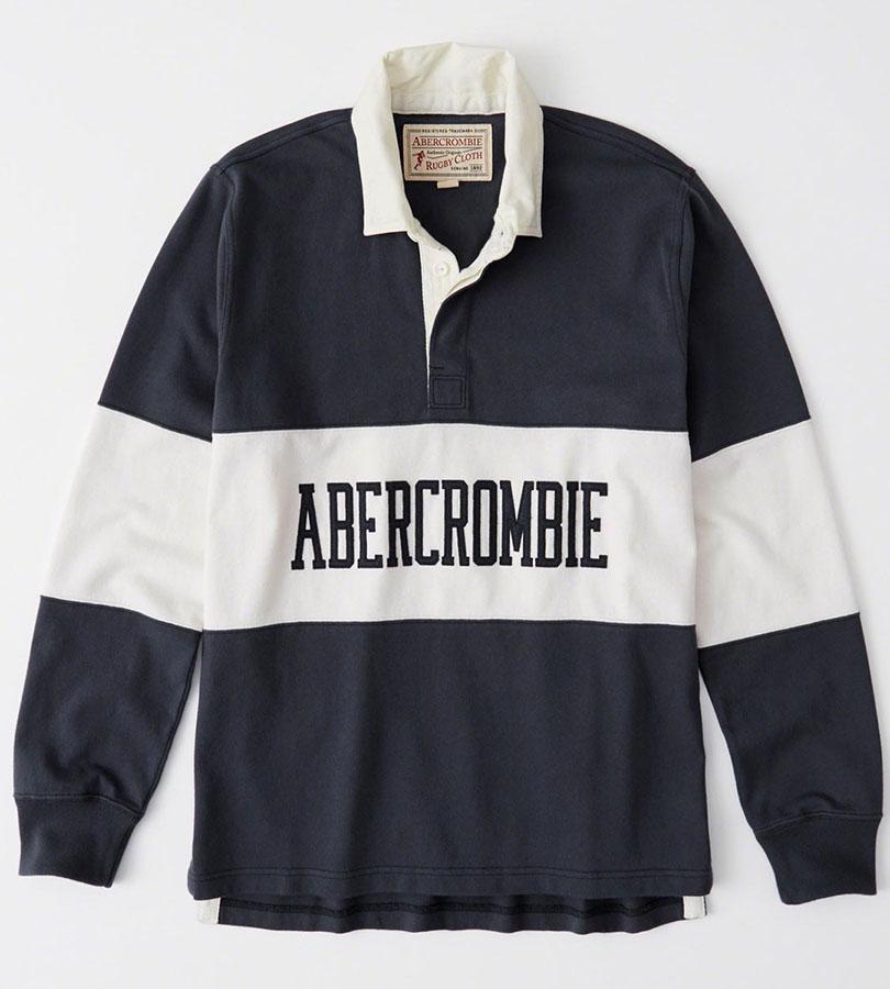 正規直営店より直接買い付け Abercrombie Fitch 通常便なら送料無料 正規品 アバクロンビー フィッチ ロゴアップリケ 直営ストア ラグビーポロシャツ 長袖 Polo Logo メンズ 新品 Stripe Navy Graphic Rugby