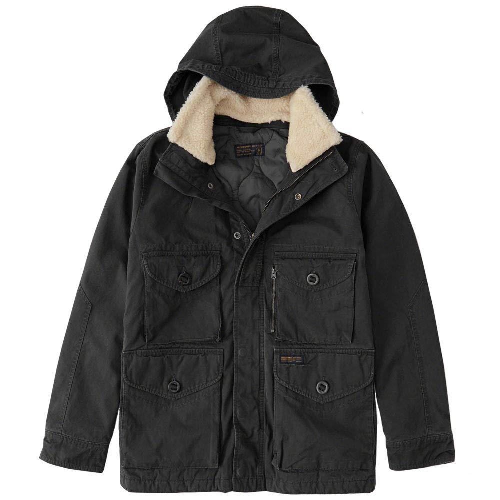 Abercrombie&Fitch (アバクロンビー&フィッチ) シェルパ取り外し可能 ミリタリーコンバットジャケット (Removable Sherpa Combat Jacket) メンズ(長袖)(Black) 新品