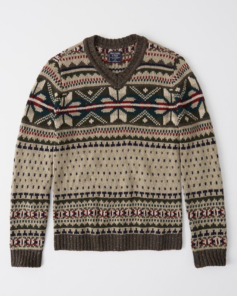 Abercrombie&Fitch (アバクロンビー&フィッチ) Vネック ノルディック柄 セーター (Vintage-Inspired Snowflake Sweater) メンズ (Tan Pattern) 新品