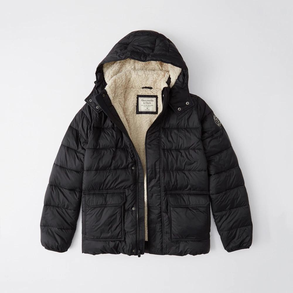 Abercrombie&Fitch (アバクロンビー&フィッチ) シェルパライニング パファージャケット (Sherpa-Lined Puffer Jacket) メンズ (Black) 新品 USAモデル