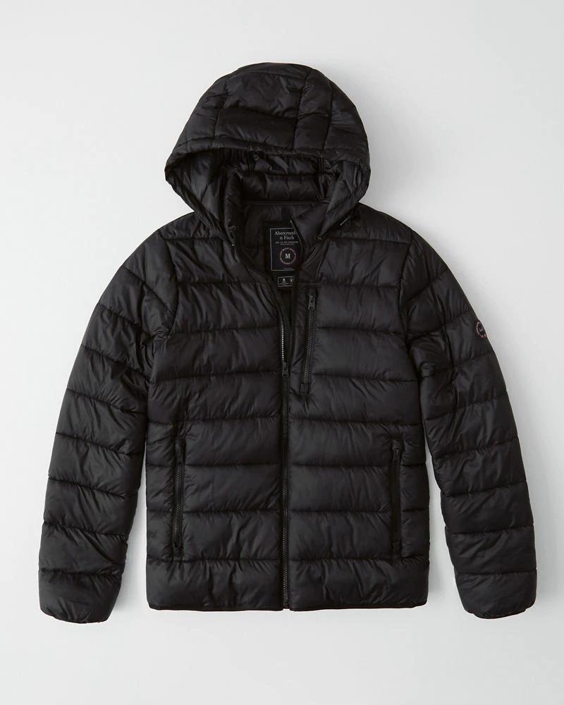 Abercrombie&Fitch (アバクロンビー&フィッチ) 取り外し可能フード パッカブルパファージャケット (Lightweight Packable Puffer) メンズ(長袖)(Black) 新品