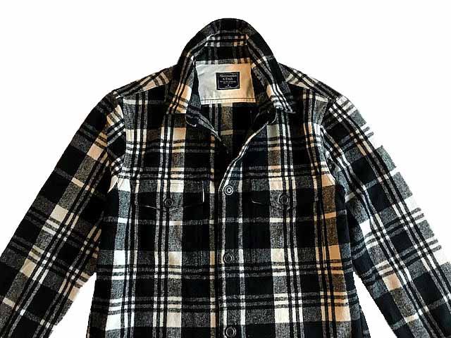 Abercrombie&Fitch (アバクロンビー&フィッチ) 厚手 フランネルシャツ ジャケット(長袖)(Flannel Shirt Jacket) メンズ (Black Check) 新品