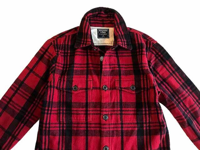 Abercrombie&Fitch (アバクロンビー&フィッチ) 厚手 フランネルシャツ ジャケット(長袖)(Flannel Shirt Jacket) メンズ (Red Check) 新品 日本未発売