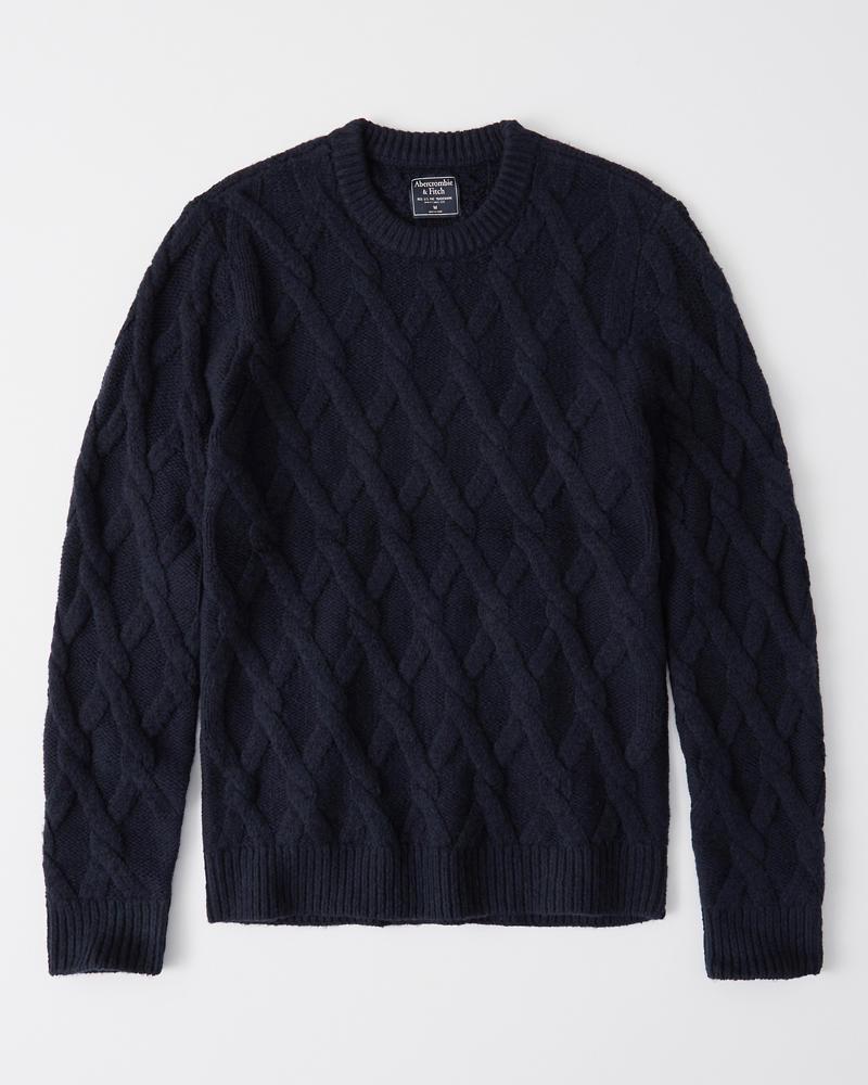 Abercrombie&Fitch (アバクロンビー&フィッチ) ケーブルニット (Cozy Cable Knit Sweater) メンズ (Navy) 新品
