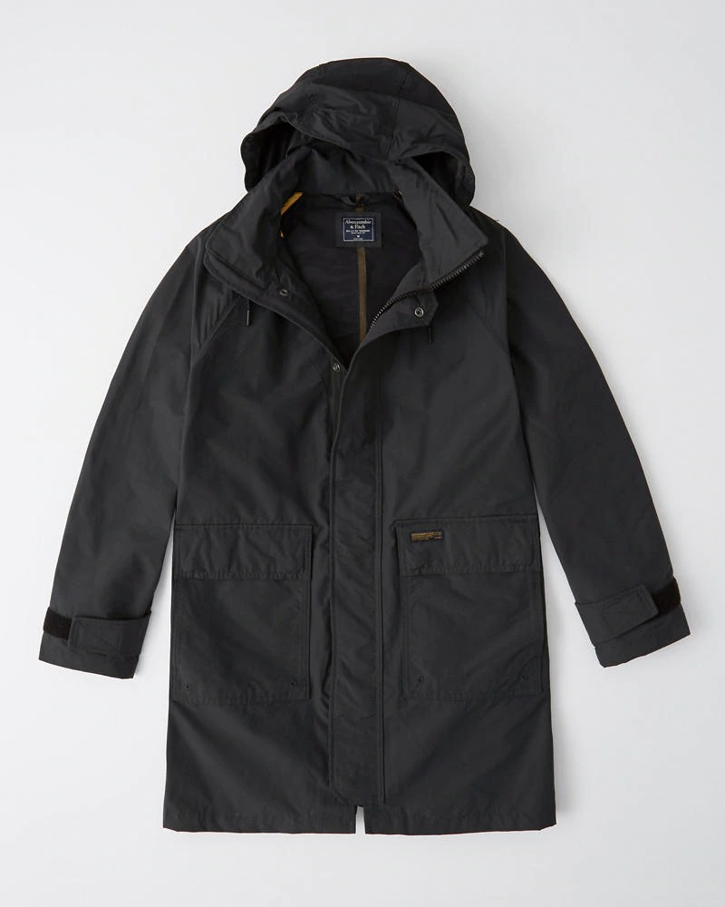 Abercrombie&Fitch (アバクロンビー&フィッチ) ラグラントレンチコートジャケット (Trench Jacket) メンズ (Black) 新品