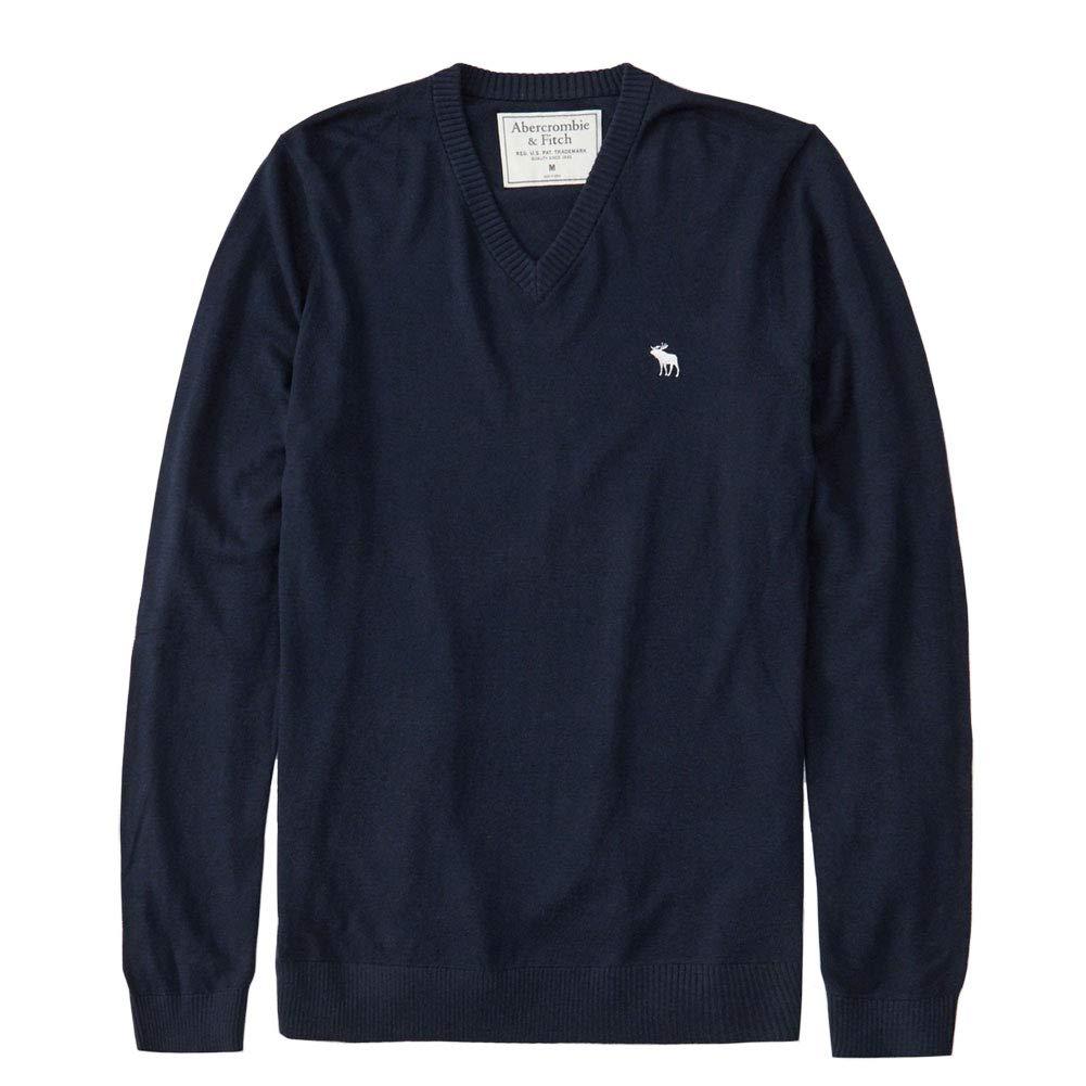 正規直営店より直接買い付け 1着でも送料無料 Abercrombie Fitch アバクロンビー フィッチ セール品 Vネックセーター Sweater メンズ Navy Icon 新品 V-Neck