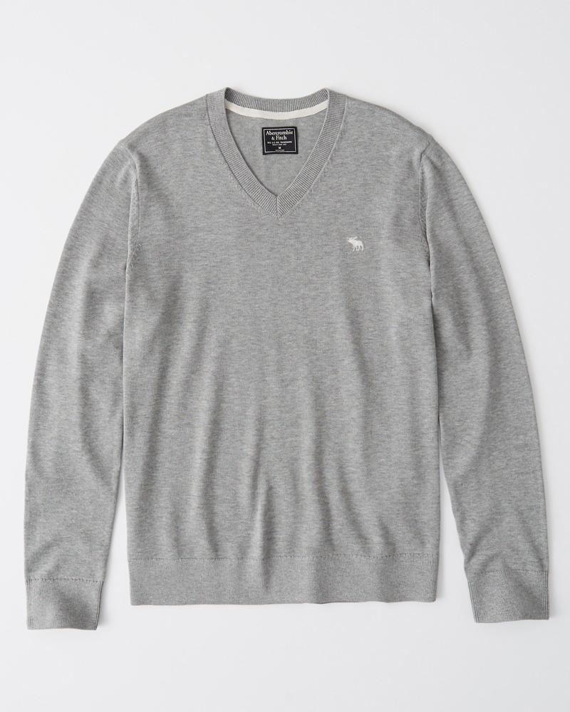 即納 正規直営店より直接買い付け Abercrombie 人気の製品 Fitch アバクロンビー フィッチ Vネックセーター Icon V-Neck Grey Sweater 新品 Heather メンズ