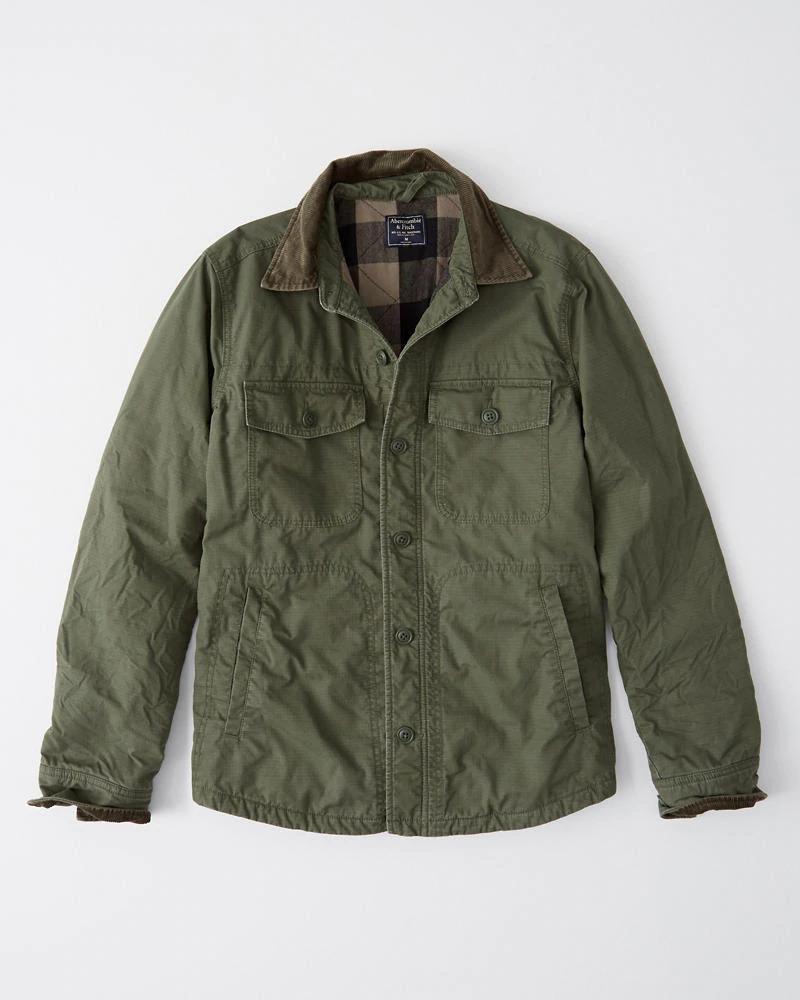 Abercrombie&Fitch (アバクロンビー&フィッチ) コーデュロイ襟 キルティングライナーシャツジャケット (Corduroy Collar Shirt Jacket) メンズ (Olive Green) 新品
