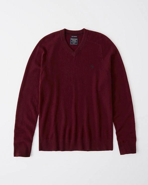 Abercrombie&Fitch (アバクロンビー&フィッチ) カシミアVネックセーター (Cashmere Icon V-Neck Sweater) メンズ (Burgundy) 新品