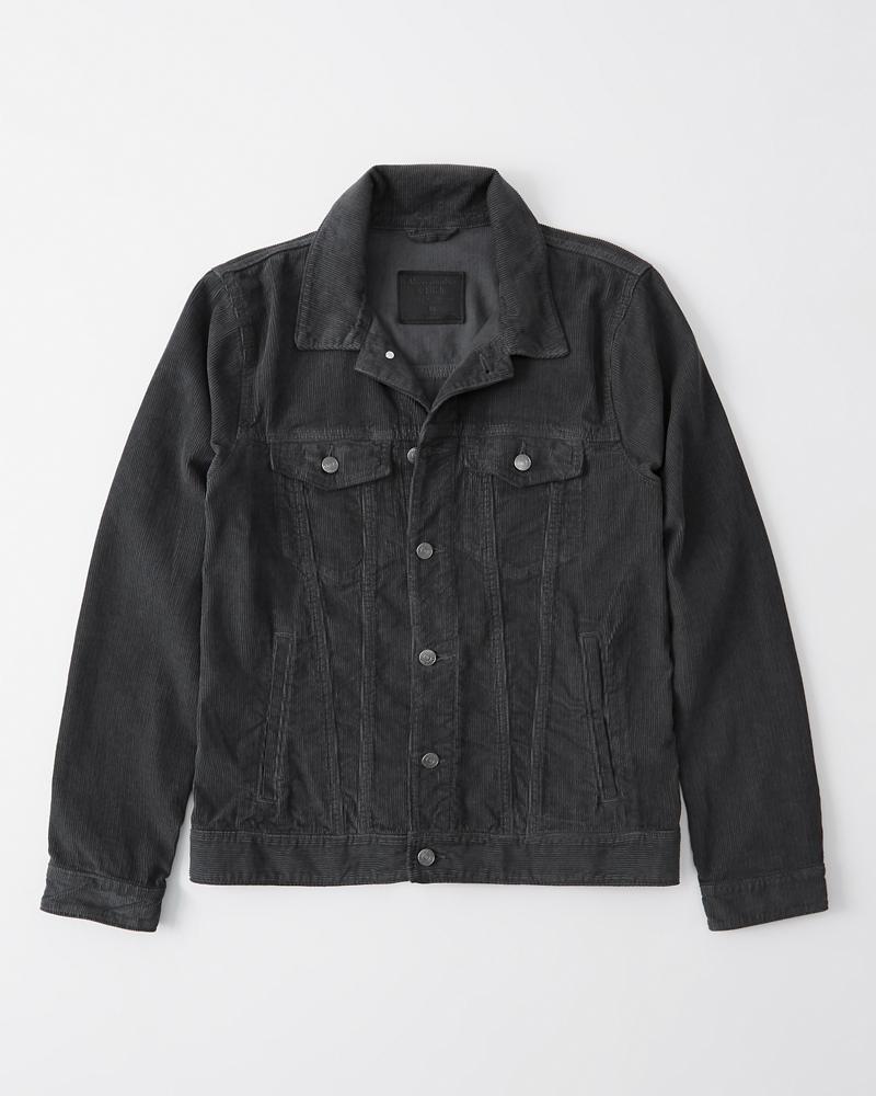 Abercrombie&Fitch (アバクロンビー&フィッチ) コーデュロイジャケット(長袖)(Corduroy Trucker Jacket) メンズ (Dark Grey) 新品