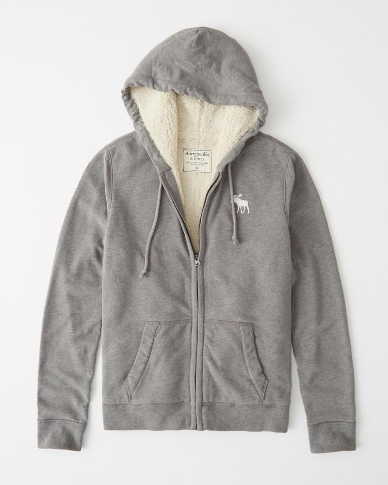 Abercrombie&Fitch (アバクロンビー&フィッチ) 裏ボア ロゴ フルジップパーカー(フーディー)(Sherpa-Lined Full-Zip Hoodie) メンズ (Gray) 新品