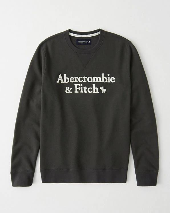 Abercrombie&Fitch 正規品 (アバクロンビー&フィッチ) ロゴアップリケスエット (Heren Applique Logo Crew Sweatshirt) メンズ (Black) 新品