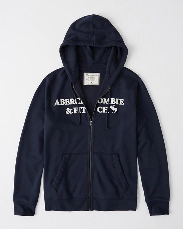 Abercrombie&Fitch (アバクロンビー&フィッチ) ロゴ アップリケ フルジップ パーカー(フーディー) (Embroidered Logo Full-Zip Hoodie) メンズ (Navy) 新品