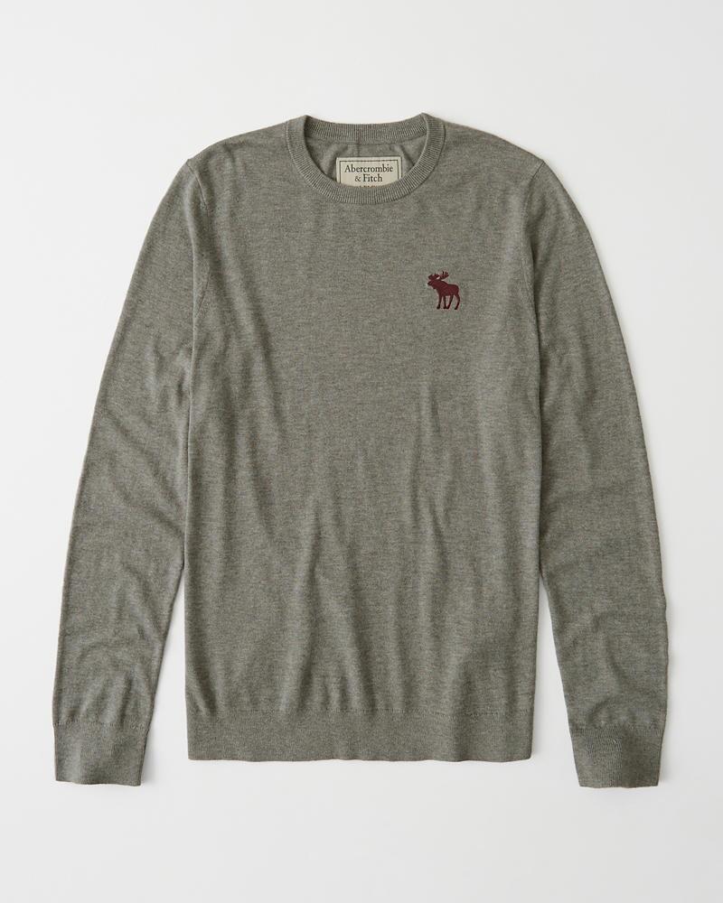 ギフト 正規直営店より直接買い付け Abercrombie Fitch アバクロンビー フィッチ ビックムース刺繍 クルーネックセーター Grey 商品 メンズ Sweater Icon 新品 Crew