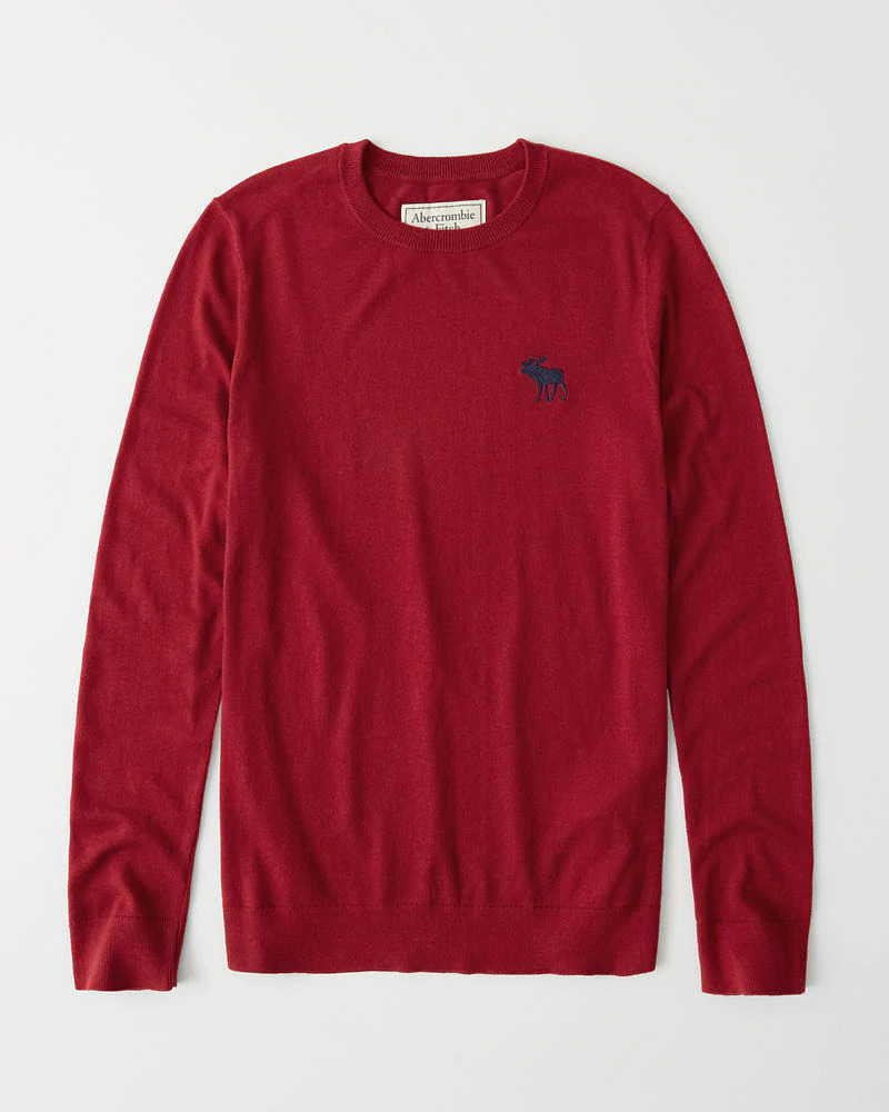 正規直営店より直接買い付け Abercrombie 海外輸入 Fitch アバクロンビー フィッチ ビックムース刺繍 卸売り クルーネックセーター メンズ Icon 新品 Red Sweater Crew