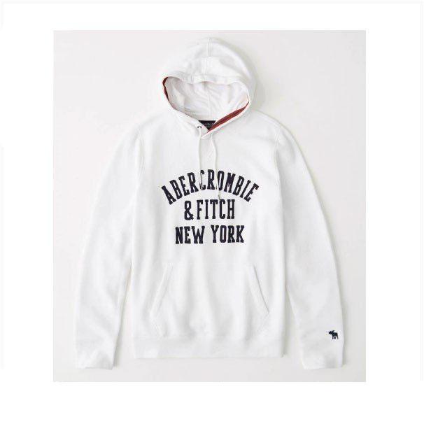Abercrombie&Fitch (アバクロンビー&フィッチ) アップリケ プルオーバー パーカー(フーディー) (Applique Logo Hoodie) メンズ (White) 新品(softA&F)