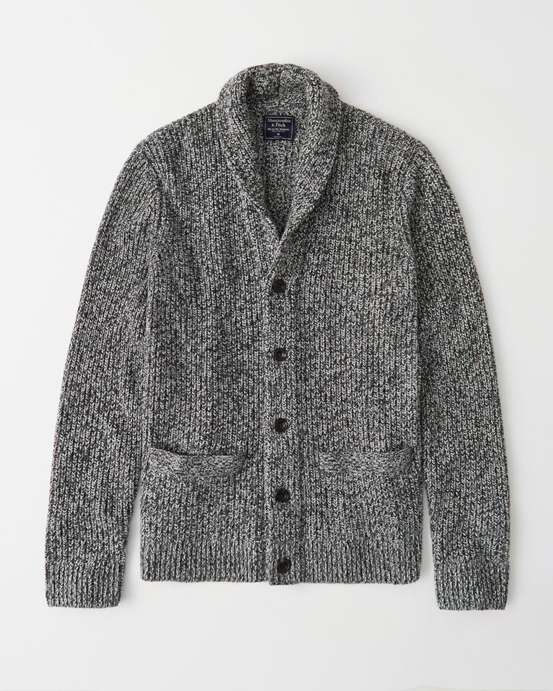 Abercrombie&Fitch (アバクロンビー&フィッチ) ショールカラー カーディガン (Shawl Cardigan) メンズ (heather grey) 新品