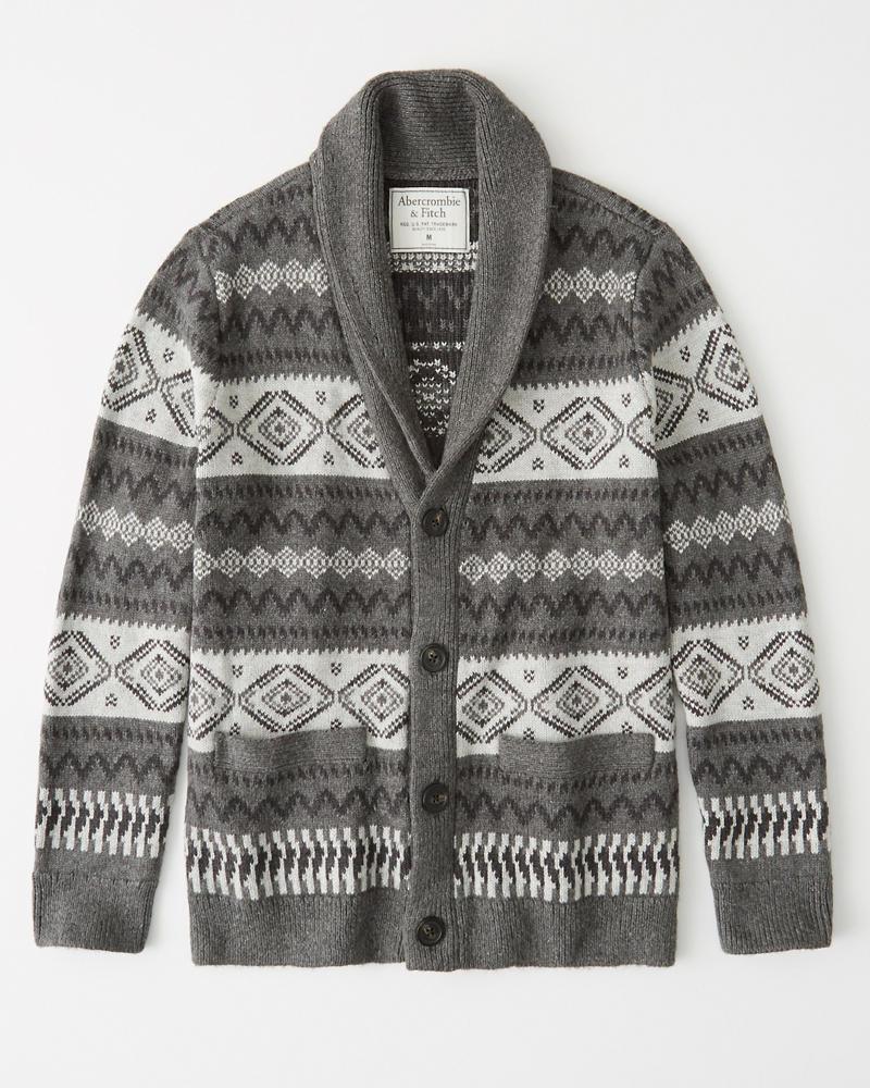 Abercrombie&Fitch (アバクロンビー&フィッチ) ショールカラー カーディガン (Shawl Cardigan) メンズ (Gray) 新品