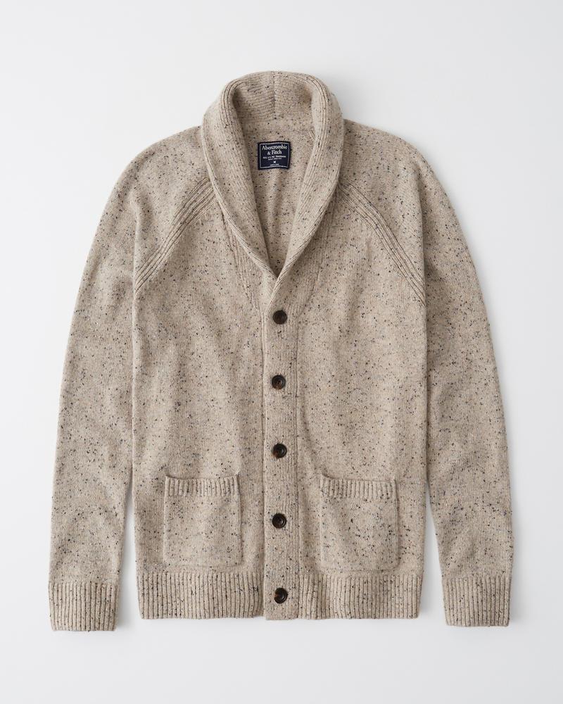Abercrombie&Fitch (アバクロンビー&フィッチ) ウールブレンド ショールカラー カーディガン (Wool-Blend Shawl Cardigan) メンズ (Light Brown) 新品