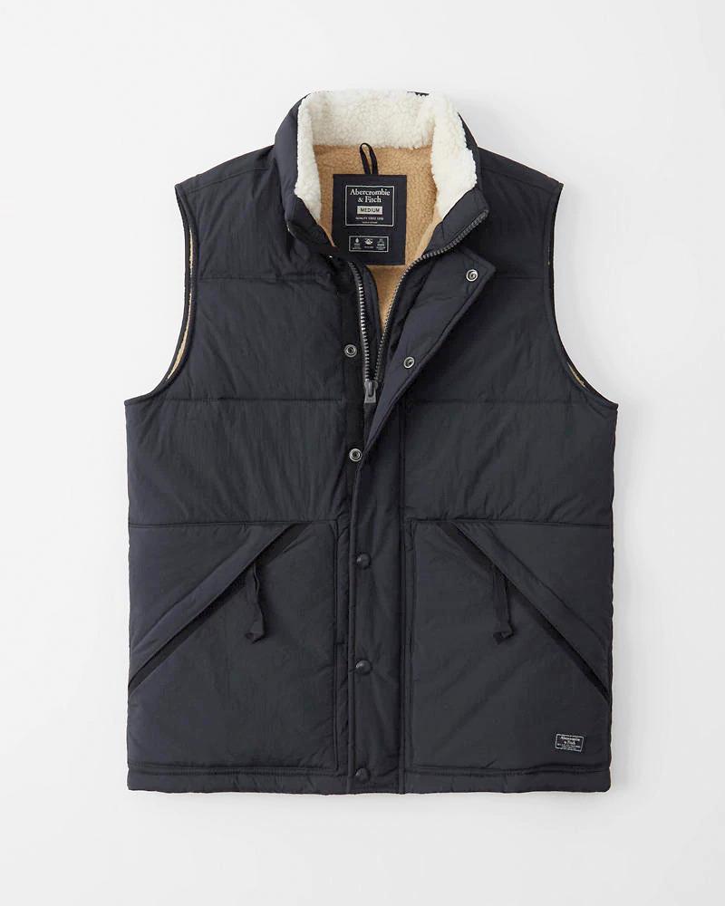 正規直営店より直接買い付け Abercrombie Fitch アバクロンビー フィッチ シェルパラインドベスト 新品 Blue メンズ Navy 並行輸入品 Vest 春の新作 Sherpa-Lined