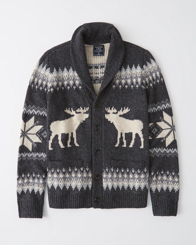 Abercrombie&Fitch (アバクロンビー&フィッチ) ショールカラー カーディガン セーター (Shawl Cardigan Sweater) メンズ (Dark Grey) 新品