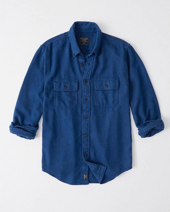 Abercrombie&Fitch (アバクロンビー&フィッチ) フランネルシャツ (ネルシャツ)(Flannel Shirt) メンズ (Blue) 新品